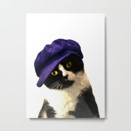 Cat Blue Hat Metal Print