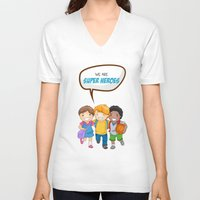 super heroes V-neck T-shirts featuring We are Super Heroes by youngmindz