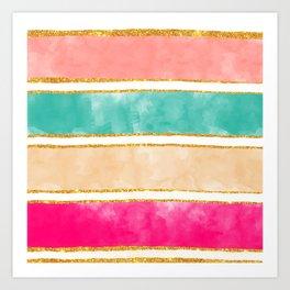 Modern Stripes Pink Red Watercolor Gold Glitter Art Print