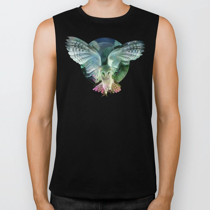 """Owl flight and spring night"" Biker Tank"