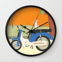 motorbike Wall Clocks featuring motorbike by Valeria Cis