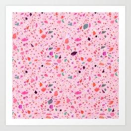 Terrazzo pink and purple Art Print