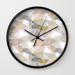 Polygonal pattern in pastel colors. Wall Clock