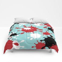 Paint Splatter-Blue+Red+Black Comforters