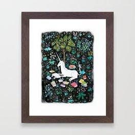 The Unicorn is Reading Framed Art Print