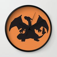 charizard Wall Clocks featuring Charizard Silhouette by Jessica Wray