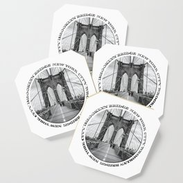 Brooklyn Bridge New York City (black & white with text) Coaster