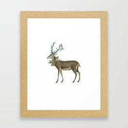 Artsy Christmas reindeer Framed Art Print