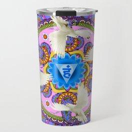 BLUE CHAKRA MANDALA WITH WHITE DOVES& PURPLE-GREY ART Travel Mug