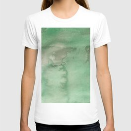Hand painted forest green brown watercolor camo pattern T-shirt