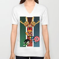 powerpuff girls V-neck T-shirts featuring Powerpuff Girls by milanova