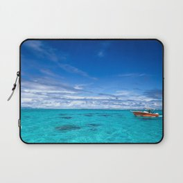 South Pacific Crystal Ocean Dreamscape with Boat Laptop Sleeve
