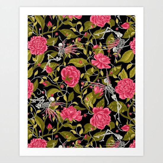 Death of Summer (black and rose) Art Print
