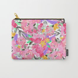 Hand painted pink lavender watercolor floral Carry-All Pouch