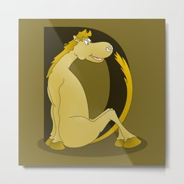 Pony Monogram Letter D Metal Print