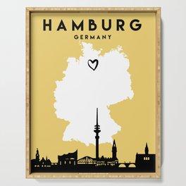 HAMBURG GERMANY LOVE CITY SILHOUETTE SKYLINE ART Serving Tray