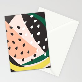 Abstract Print in Pink, Yellow and Black Stationery Cards