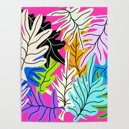 Colourful leaves pattern on a pink background Poster