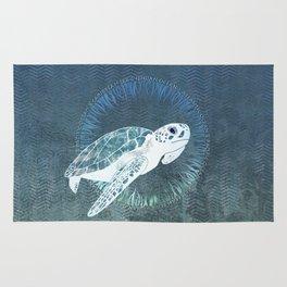 Green Sea Turtle Wreath Rug