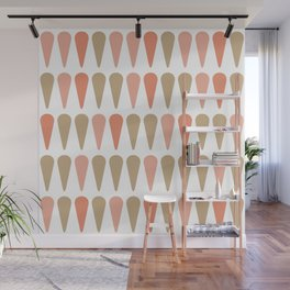 Abstract Ice Cream Minimalist Pattern in Coral Pink and Khaki on White Wall Mural