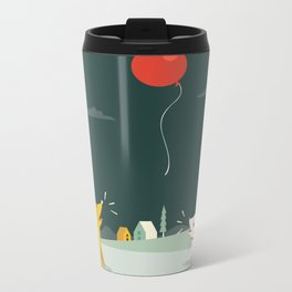 Puppies Barking at a Red Balloon Metal Travel Mug