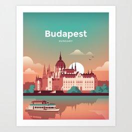 Budapest Hungary Vintage Travel Poster Art Print