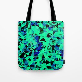 geometric triangle pattern abstract in green blue black Tote Bag