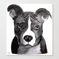 pit bull Canvas Prints featuring Pit Bull Dogs Lovers by Gooberella