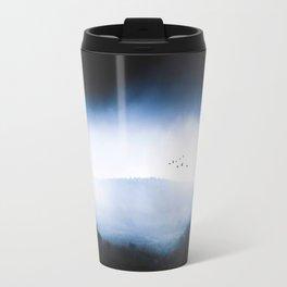 Misty Mountains Low Cloudy Sky Birds Landscape Travel Mug