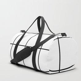 black grid on white background Duffle Bag