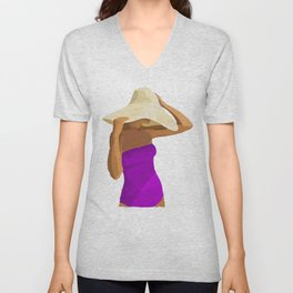 At the Beach: Purple suit Unisex V-Neck