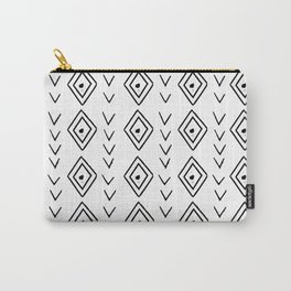 mudcloth 9 minimal textured black and white pattern home decor minimalist beach Carry-All Pouch