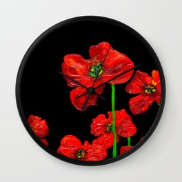 red flowers on black Wall Clock