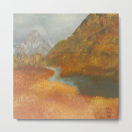 Glen Etive, wildness, landscape, oil painting by Luna Smith aka Lu Metal Print