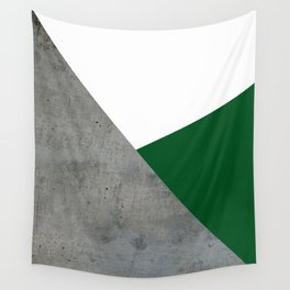 Concrete Festive Green White Wall Tapestry