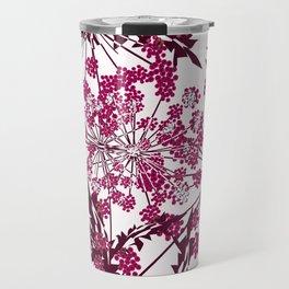 Laced crimson flowers on a white background. Travel Mug