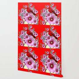MODERN  RED ART PINK HOLLYHOCKS & RED CARDINAL BIRD Wallpaper