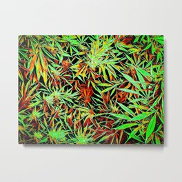 Cartoon Cannabis Jungle Metal Print
