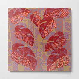 Hawaiian Lava Leaves Tapa Print Metal Print
