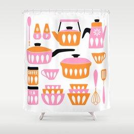 My Midcentury Modern Kitchen In Pink And Tangerine Shower Curtain