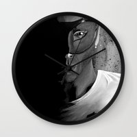 avenger Wall Clocks featuring Masked Avenger by the rogue sparrow