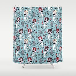 Molly Mermaid vintage pinup inspired nautical tattoo Shower Curtain