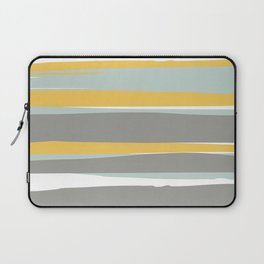 Stripe Abstract, Sun and Beach, Yellow, Pale, Aqua Blue and Gray Laptop Sleeve