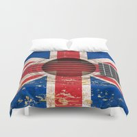 british flag Duvet Covers featuring Old Vintage Acoustic Guitar with Union Jack British Flag by Jeff Bartels