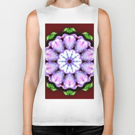 Purple White Flower on Burgundy Biker Tank