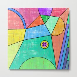 Colorful geometric abstract print, primary colors print Metal Print