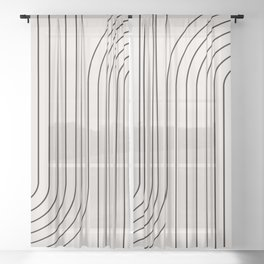 Minimal Line Curvature - Black and White I Sheer Curtain
