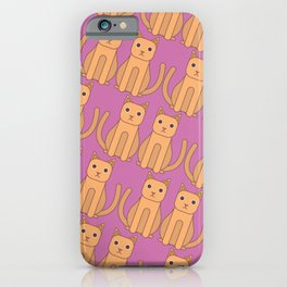 Ginger Cat Pink Pattern iPhone Case