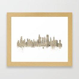 Chicago Illinois Skyline Sheet Music Cityscape Framed Art Print