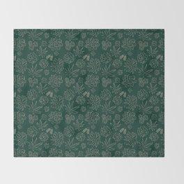 Dark Green Succulent Flower Garden Throw Blanket